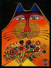 LAUREL BURCH Cat Kitten Bouquet Flowers -  Large Blank Note Greeting Card - NEW