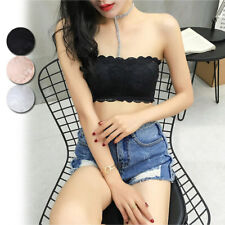 Black Women Cami Top Padded Elastic Lace Strapless Seamless Bandeau Bra
