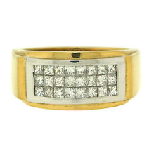 1.09ct MENS PRINCESS CUT DIAMOND RING 18K 2TONED GOLD