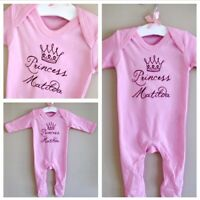 Beautiful PERSONALISED baby girl Princess Romper babygrow sleepsuit ANY NAME