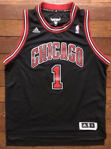 Derrick Rose Youth XL Adidas Swingman Chicago Bulls Black YXL Boys NBA Jersey