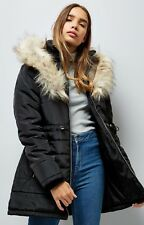WAS £60 NOW £29.99 New Look Black Warm Padded Parka Jacket Coat Faux Fur Hooded