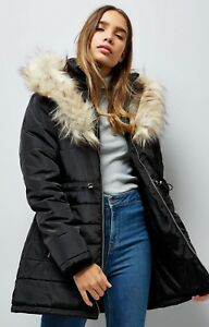 WAS £60  New Look Black Warm Padded Parka Jacket School Coat Faux Fur Hooded