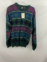 Vtg Jed Wear 90s NWT Knit Mens Cosby Sz M Green Purple Geometric Shape Sweater