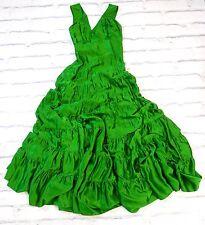 BEYOND GODDESS: Mimmo Couture Emerald Green Tiered Silk Maxi Dress Gown UK8-10