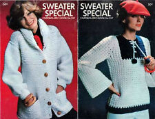 SWEATER PATTERNs Crochet KNIT ARAN Pullover BLOUSE Tunic BULKY JACKET 31 - 38