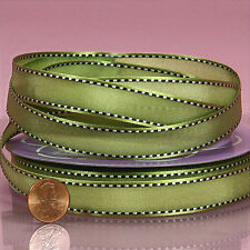 Lilly Satin Ribbon olive color 5/8 inches wide price for 2 yards