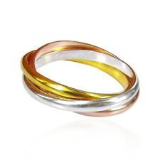 Tricolor Triple Tangle Puzzle Hoop .925 Silver Ring-6.5-3mm