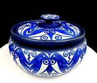 """JANE WHERRETTE SIGNED ART POTTERY BLUE & WHITE FLORAL DESIGN 5 3/4"""" LIDDED POT"""