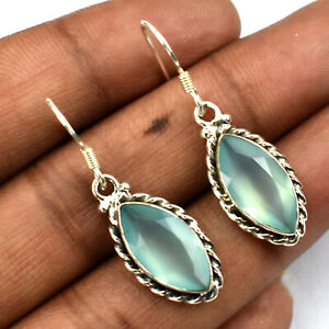 925 Sterling Silver Marquise Aqua Chalcedony Cabochon Gemstone Earrings CAER-259