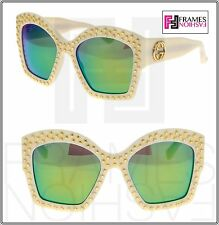 bb3bf2fc86 Gucci Gold Star Stud Gg3870s Oversized Ivory Lime Mirrored Sunglasses 3870