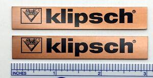 Klipsch Speaker Badge Pair Copper Colored Aluminum - KG Chorus Cornwall Heresy
