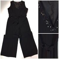 M&S Portfolio Black Jumpsuit Sequins Beads Belt Wide Leg UK 16 Cruise Evening