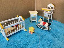Vintage 6 Lot Dollhouse Furniture Baby Room crib High Chair Horse Rocker Duck