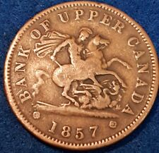 1857 Bank Of Upper Canada Penny Token  ID #A10-36