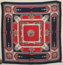"TERRIART Navy, Gray, Red, White Scrolls SILK 30"" Sq Scarf-Vintage - Ciriano Roma"