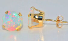 14Kt Yellow Gold Opal 4mm Round Stud Earrings
