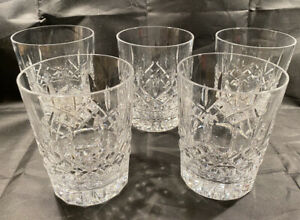 """Waterford Crystal LISMORE Double OLD FASHIONED 12 ounce 4 3/8"""" Glasses set of 5"""