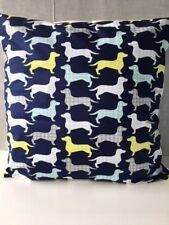 """'Dog Gone It' Dachshunds Covered 16"""" x 16"""" Cushion Cover in Navy Blue"""