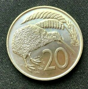 1973 New Zealand 20 Cents Coin BU UNC     World Coin Copper Nickel      #K1640