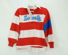 Vintage Izod Lacoste Rugby Shirt Red Stripes Spell Out Kids Medium