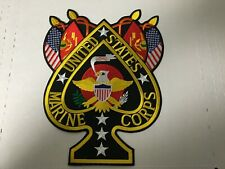 Usmc Spade With Flags Large Back Patch Measures 10 1/2 Tall X 8 3/8 Wide Inches