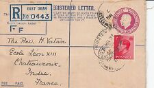F 2359  East Dean uprated 1d red KEVIII stamp on PO F type Reg cover March 1937