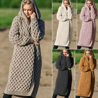 Women Hoodies Hooded Knitted Cardigan Coat Ladies Long Sleeve Midi Coats Outwear