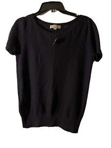 Ann Taylor loft short sleeve sweater navy size medium new with tags