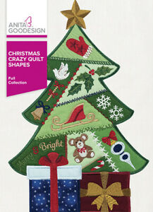 Christmas Crazy Quilt Shapes Anita Goodesign Embroidery Design Machine CD