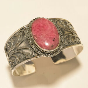 NATURAL PINK RHODONITE UNIQUE GIFT FOR MOM 925 SILVER OVERLAY SILVER BANGLE/CUFF