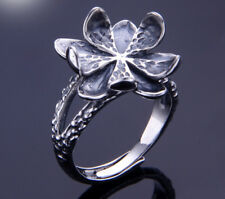 14*14mm 925 STERLING SILVER Semi Mount Base Blanks Pad ring Setting flower P1273