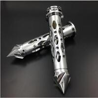 "Chrome 7/8""Handlebar Handgrip Grips for Yamaha Kawasaki Motorcycle Aluminum"