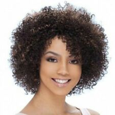 Fashion Fluffy Afro Curly Black Brown Mixed Capless Synthetic Wig Hair For Women