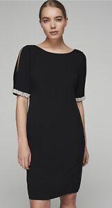 Karl Lagerfeld Paris Black Split Sleeve Pearl Trim Dress Size 6 NWOT