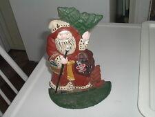 Vintage Hand Painted Cast Iron Santa Doorstop Bookend Excellent Condition