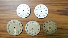 5 Vtg Pocket Watch Face Elgin Waltham Standard Mixed Parts Or Repair As Is