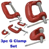 3pc Mini G Clamp Grip Set Small Screw C Clamps 25mm 50mm 75mm Wood Metal Work