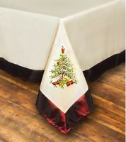 "PImpernel For Spode Large Embroidered Tablecloth 61"" X 118"" Christmas Tree"