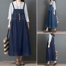 ZANZEA 8-24 Women Strappy Long Maxi Sundress Denim Blue Overalls Pinafores Dress
