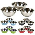 3pc Colours Stainless Steel Metal Deep Mixing Bowl Caterer Salad Spaghetti Pasta