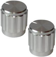 2 boutons de potentiomètre pour axe moleté 6mm Ø15x16mm couleur argent