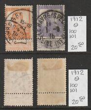 Belgium 1912 Used 1-2fr w/ tab Sotn Scott 100 101 2018 cv 20.50