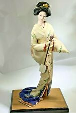 Vintage Beautiful  Japanese Gofun Face Geisha Doll Playing Instrument