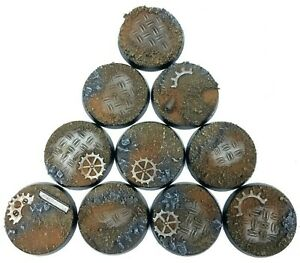 Ruined Factory - Round Resin Bases 25mm-10 Painted/Unpainted Bases for Warhammer
