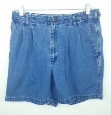 Docker's Men's Size 34 Shorts Denim Jean Medium Blue Pleated Vintage Dad Cotton