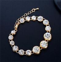 18K Gold plated Austrian Crystal 22 cm Brilliant Bracelet Bangle