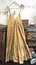 Gypsy Maxi Boho Dress Strappy Paisley Yellow Backless 10 12 14 16 18 Long Silk