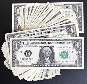 2003 Philadelphia $1 Consecutive Star Notes - UNC Lot Of 42 (P903)