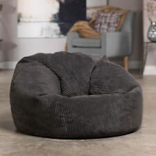 Luxury Microplush Cord Bean Bag  X Large Adult Bean Bag Chair SLATE GREY